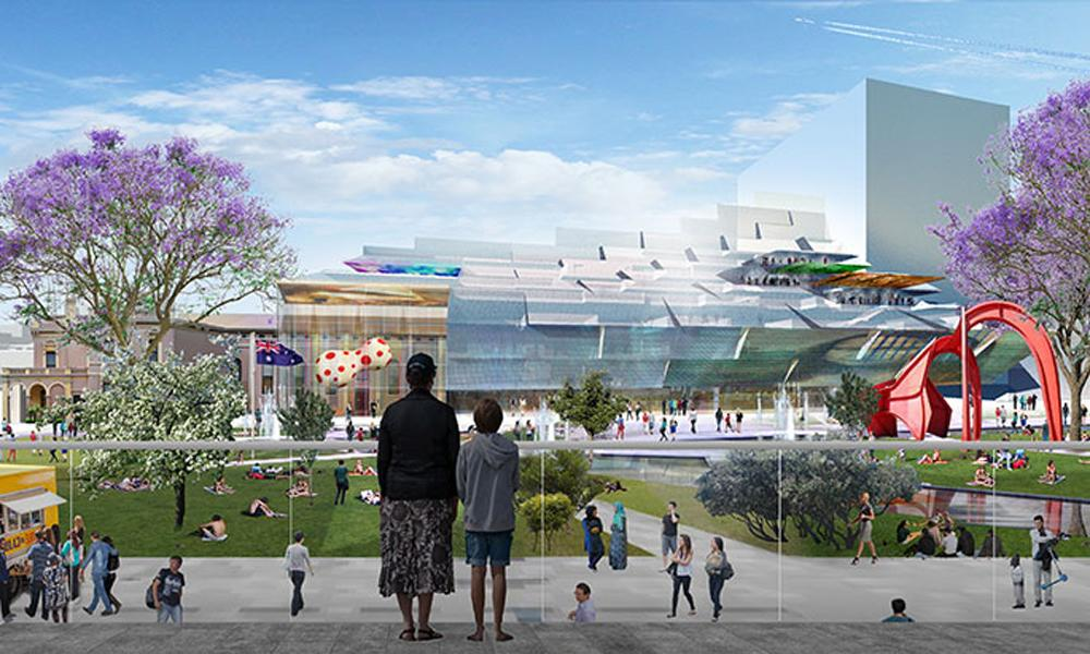 The glass exterior will include a large LED screen for public art projections, and cantilevered levels that will shelter public terraces and a rooftop garden / Parramatta City Council