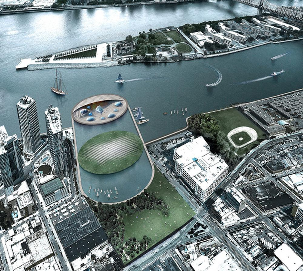 opulent design retractable roof. The aquarium and a marine centre would be located on submerged two level  island situated in large water basin the East River Arch Out Loud Lissoni Italian architects win New York design competition with