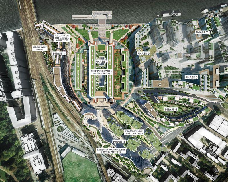 Rafael Viñoly's masterplan for the Battersea site, which is split over seven phases / Battersea Power Station Development Company