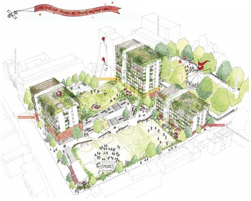Council housing and community facilities will be added alongside the new leisure centre / Islington Council