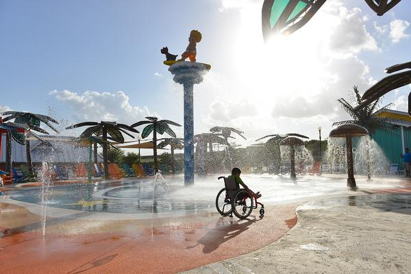 The waterpark offers a specially designed wheelchair that runs on compressed air and can get wet