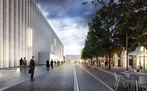 "The museum will be bordered to the north by a series of arcades whose activities will also be linked to the arts, forming a ""cultural driveway"""