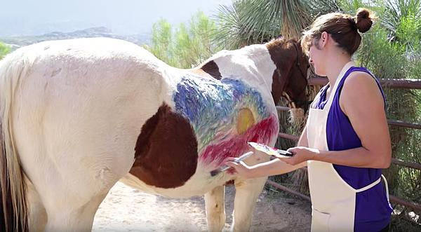 'Unforgettable Canvas' lets guests paint the side of a horse