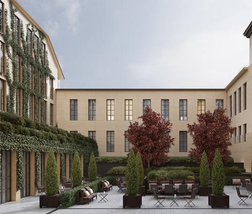 An internal courtyard inspired by the traditional patios of the Italian Renaissance Palaces will offer outdoor living space