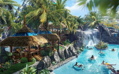 A lazy river will enter hidden caves within the volcano