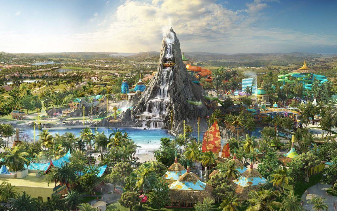 The park will be anchored by a 200ft (61m) -high volcano structure