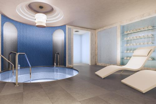 The spa includes male and female wet areas with aroma steam room, Roman hot tub, sauna and private relaxation areas