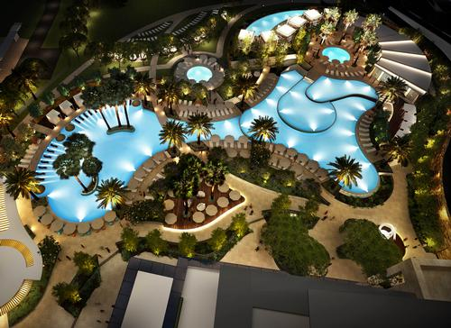 A multi-tiered pool area, designed by Hassell Landscaping, includes the Enclave – a secluded poolside area with cabanas and a cocktail bar surrounding a circular infinity pool