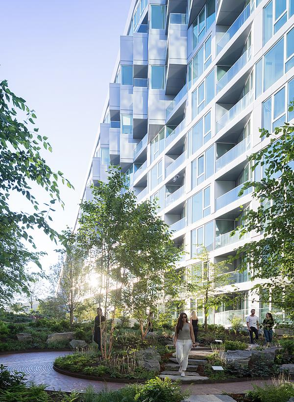VIA 57 West's residential units surround a central courtyard garden