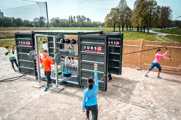 The FUNS-C is a versatile multi-user workout station housed 