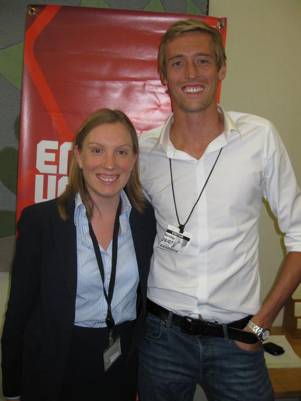 Crouch, here with Stoke and England international striker Peter Crouch (no relation), is a passionate football fan