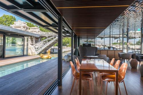 OFF hotel and bar features 54 rooms, four suites, a bar, a plunge pool and a marina / OFF Paris Seine