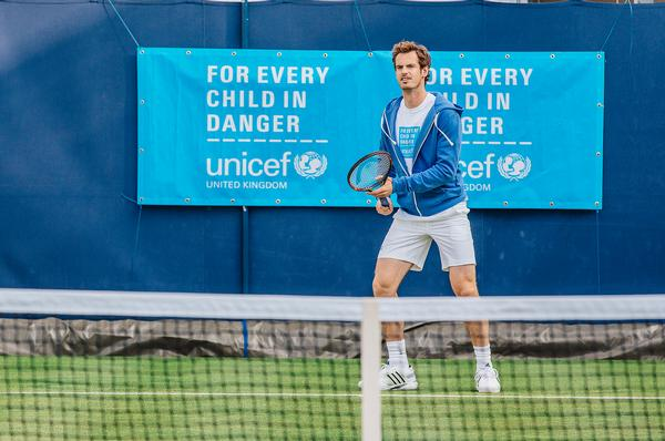Unicef UK's ambassadors play a key role in spreading its message, Andy Murray