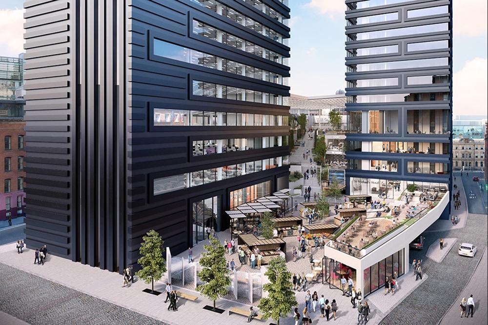 Three public plazas will anchor the development / Make