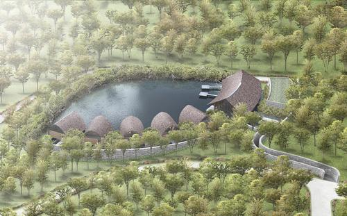 A stone bridge will connect the spa's back of house areas to the hotel / Vo Trong Nghia Architects