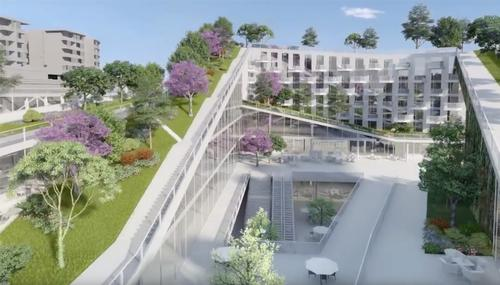 The winning design features a number of sustainable features, including green roofs and walls / City of Ryde