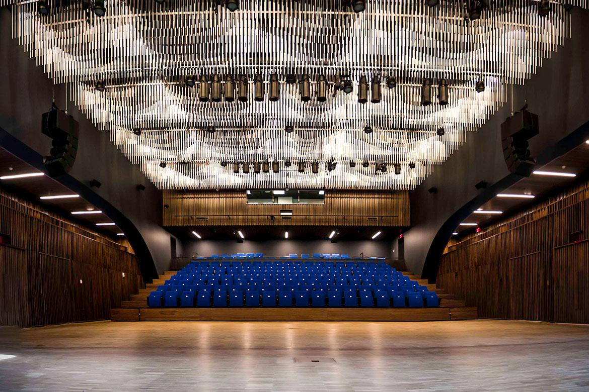 A 300-capacity concert hall is the structural and programmatic heart of the building / Brandon Wallis