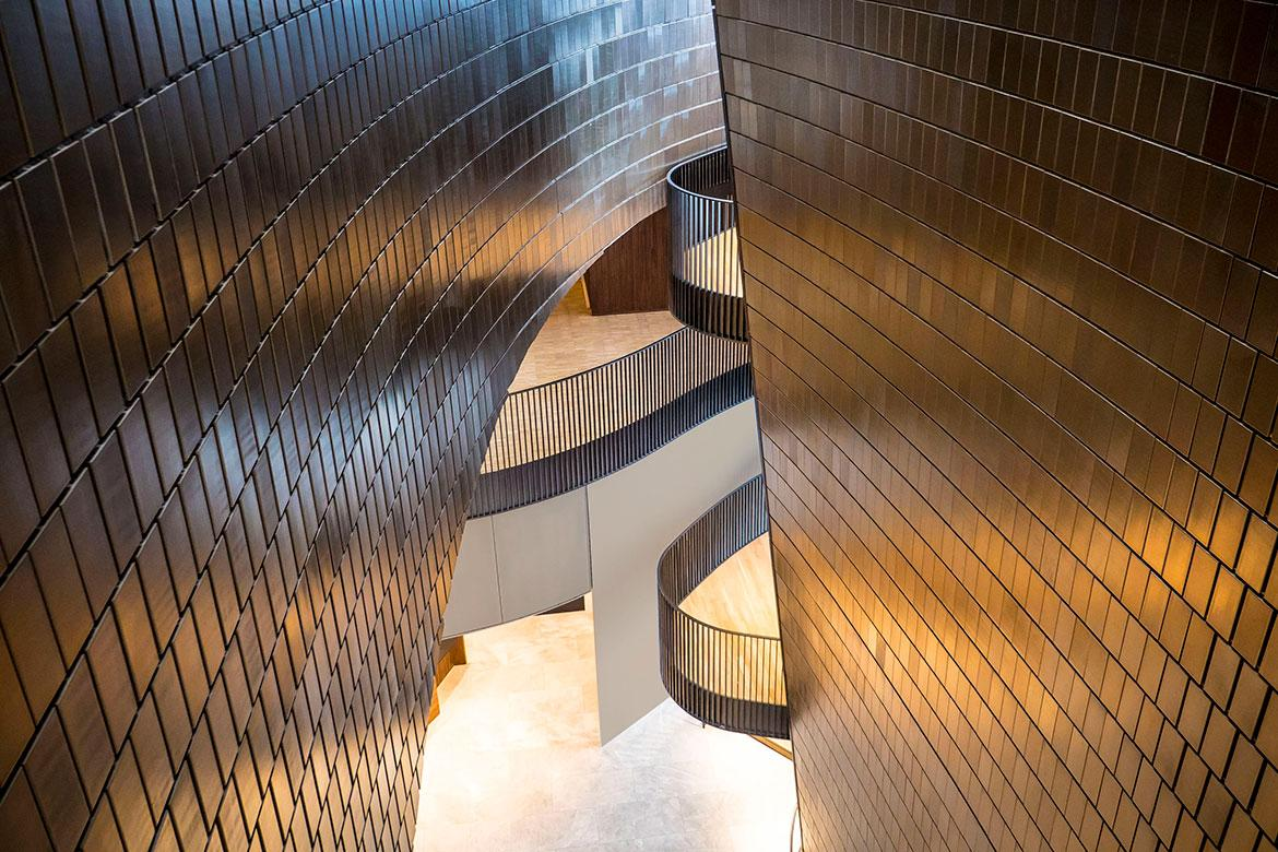 The walls curve and merge like 'gravity and acoustics' / Brandon Wallis