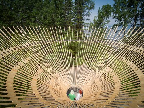 Cyclops is eight metres in diameter and suspended over the forest floor / International Garden Festival