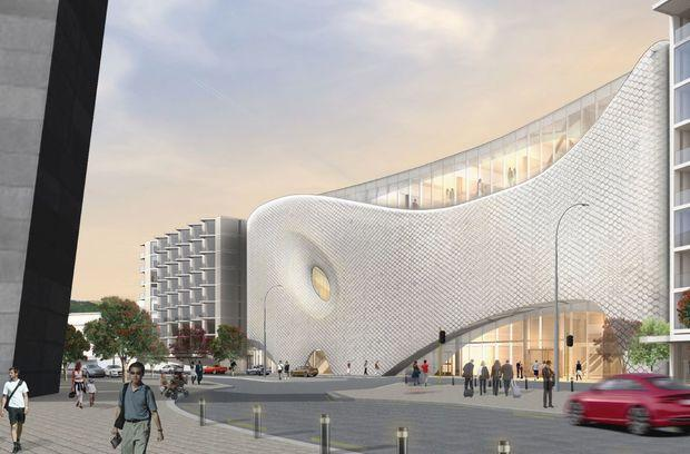 The second proposed design for the Movie Museum is inspired by a fish from local mythology / Studio Pacific Architecture, via RNZ