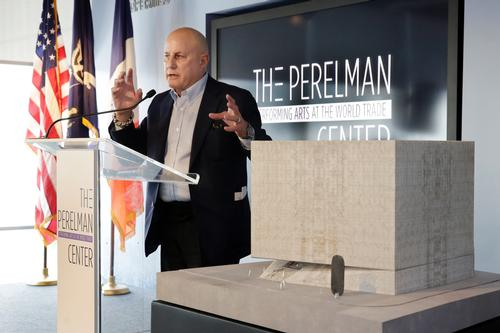 Ronald Perelman, stands beside a scale model of the Ronald O. Perelman Performing Arts Center, at the World Trader Center site, during the official design unveiling in New York / Richard Drew/AP/Press Association Images