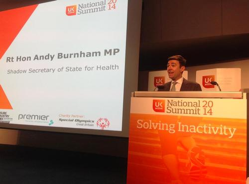 Andy Burnham delivers his keynote at the ukactive National Summit 2014 / Kate Percy / Twitter