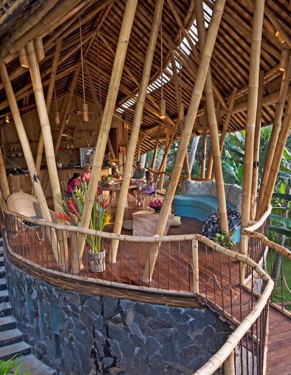 Family space at Leaf House, the Green Village Bali. The architects found a way to preserve bamboo using Borax