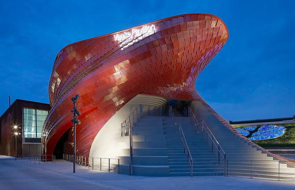 The Vanke Pavilion is clad with more than 4,000 red metalised tiles that Libeskind designed with Casalgrande Padana / VANKE PAVIION PHOTOS © HUFTON + CROW