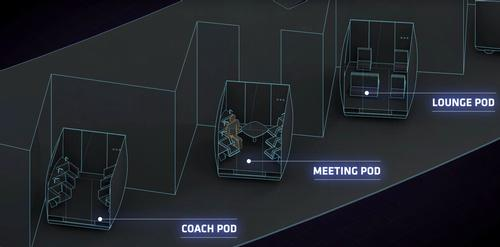 They enter different pods, which will transport them to their transporter / Hyperloop One
