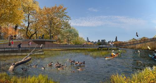 The future of the city's lakes and waterways form part of the plan / Ross Barney Architects and Metropolitan Planning Council