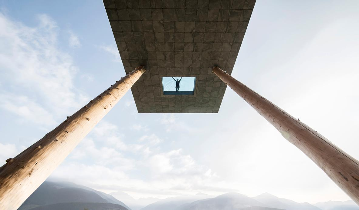 NOA*'s 17m cantilevering swimming pool overlooks a forest valley in the Dolomites, Italy / NOA*