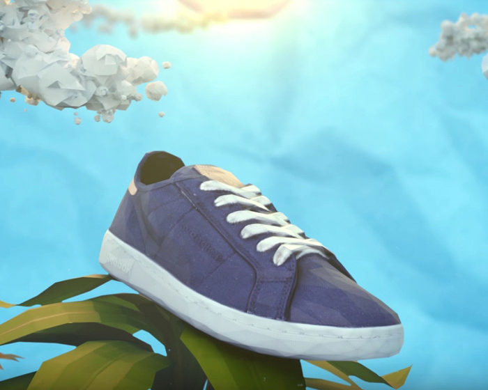 The shoe has an upper comprised of organic cotton and a base originating from industrial grown corn