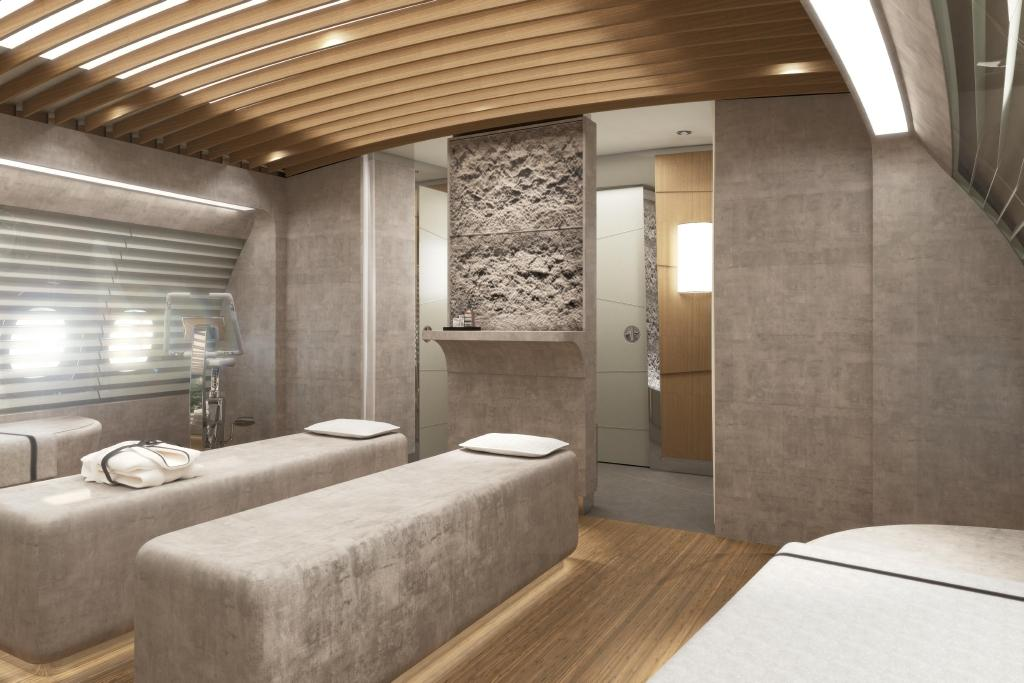The massage room in the onboard spa in lufthansa technik s for Design wellness hotel