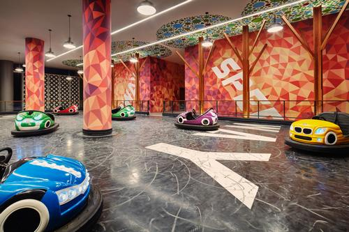 The hotel has its own Playland, including a bumper car attraction