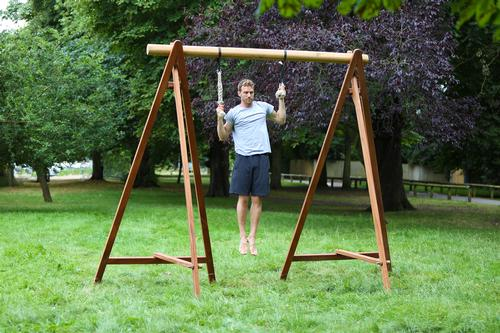 In addition to its biophilic interiors, Biofit has also developed its own range of nature-focused exercise equipment, using materials such as timber, cotton and rope / Biofit