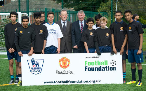 Alex Ferguson and Richard Scudamore at the launch of the Stretford facility