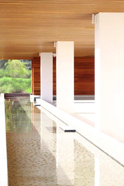 The spa includes a 170-foot-long foot massage path