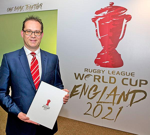 Jon Dutton, the RFL's director of projects and planning unveils England's bid  for the 2021 World Cup