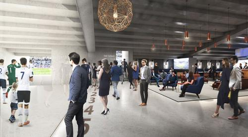 The stadium will feature a purpose-built glass-walled Tunnel Club, which allows guests a behind-the-scenes view of the players' tunnel / Tottenham Hotspur