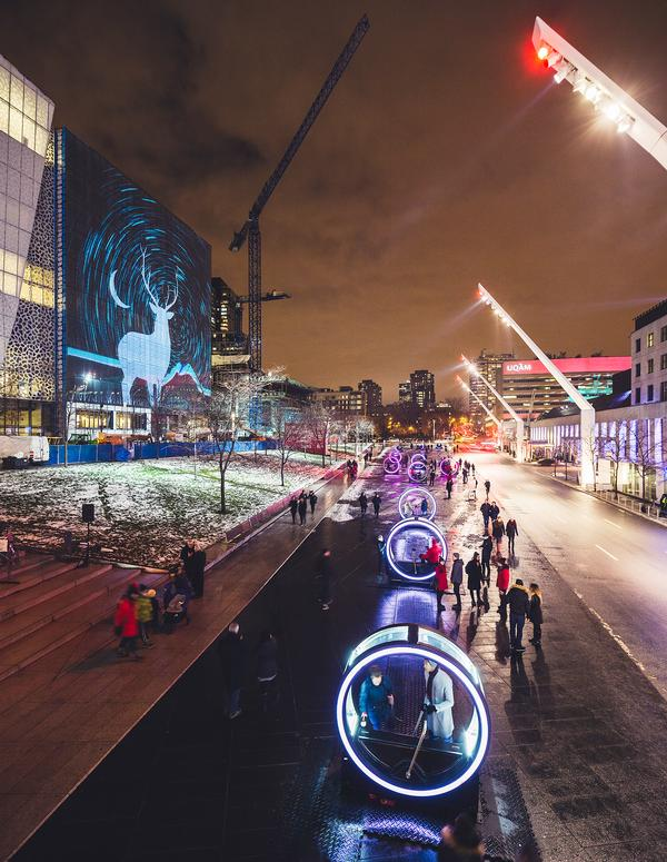 The Loop 'mechanical poetry' installation at Montreal's Place des Festivals