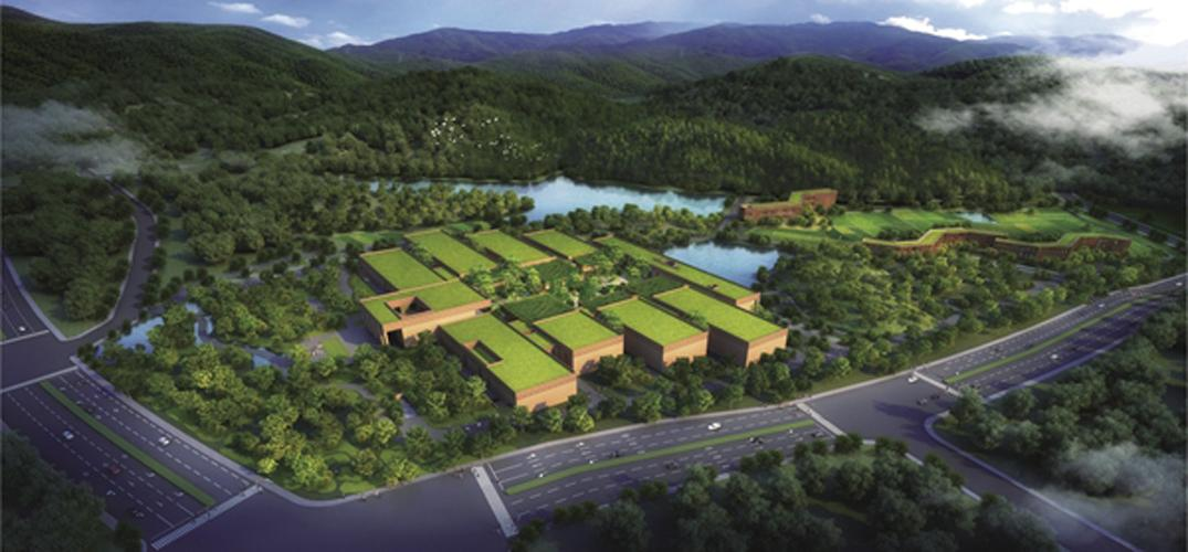 The landscape flows through the buildings towards a lake at the foot of the site / Zhejiang Natural History Museum