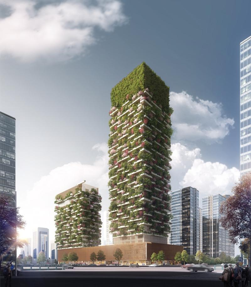 The two towers will be characterised by the interchange of balconies and green tanks to support the greenery / Stefano Boeri Architetti
