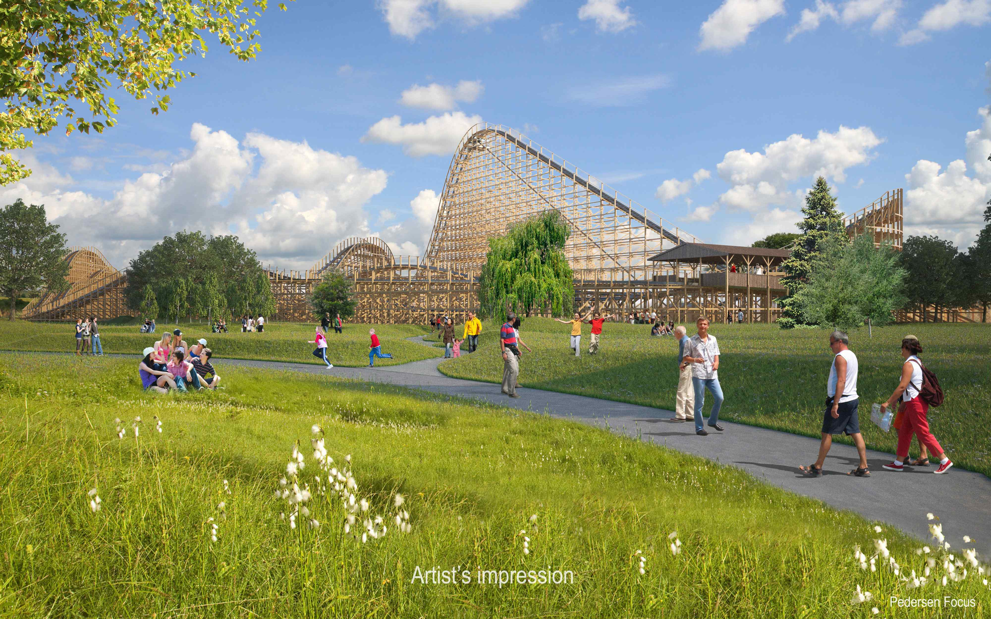 An artist's impression of the 1km-long wooden roller coaster slated to open in Tayto Park in Ireland next year / Pedersen Focus / Tayto Park