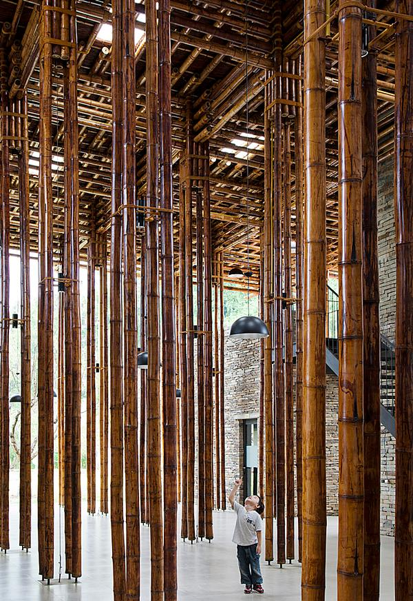 The dining room's roof structure is made from 'luong', a local bamboo that grows to 8m tall