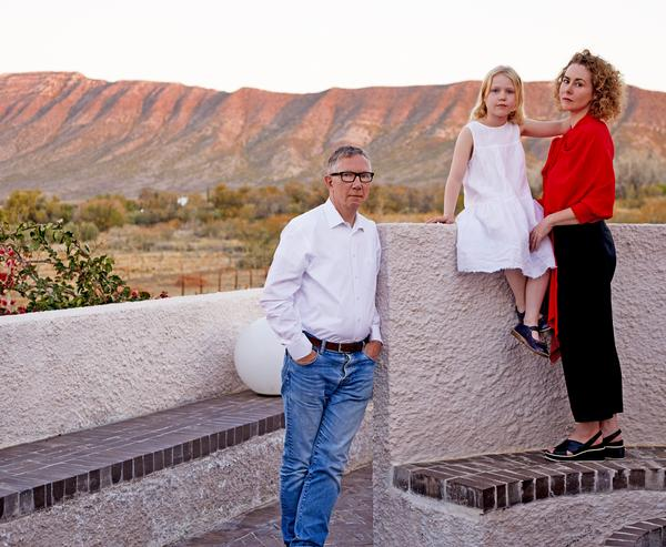 Jennifer Beningfield and her family at the Swartberg House, Great Karoo, South Africa. 