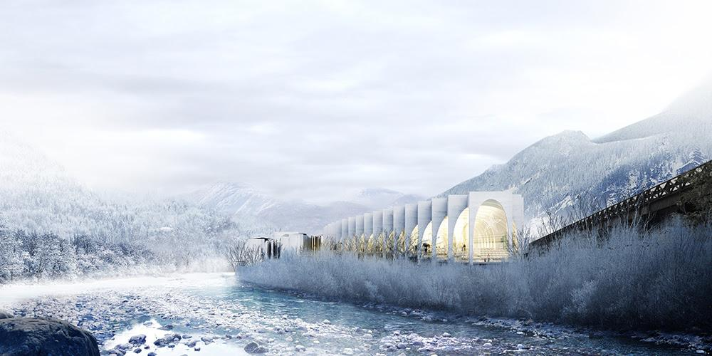 The design is inspired by 'the serpentine run of the Brembo river and the sloping Alpine mountainsides' / BIG
