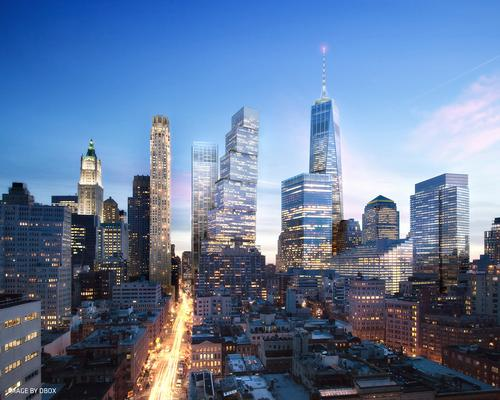A rendering of how 2 WTC might look by night / DBOX/BIG