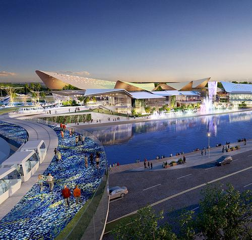 The site is being constructed on a reclaimed man-made island off Hainan / Benoy