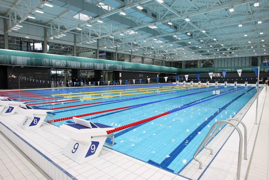 the completed centre features two full course swimming pools a diving pool and a short course training pool fina