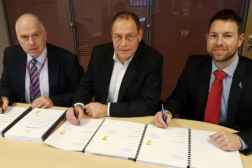 L-R: Cllr Hugh Evans, council leader; Paul Cluett, Alliance Leisure md; Jamie Groves, the council's head of facilities, assets and housing